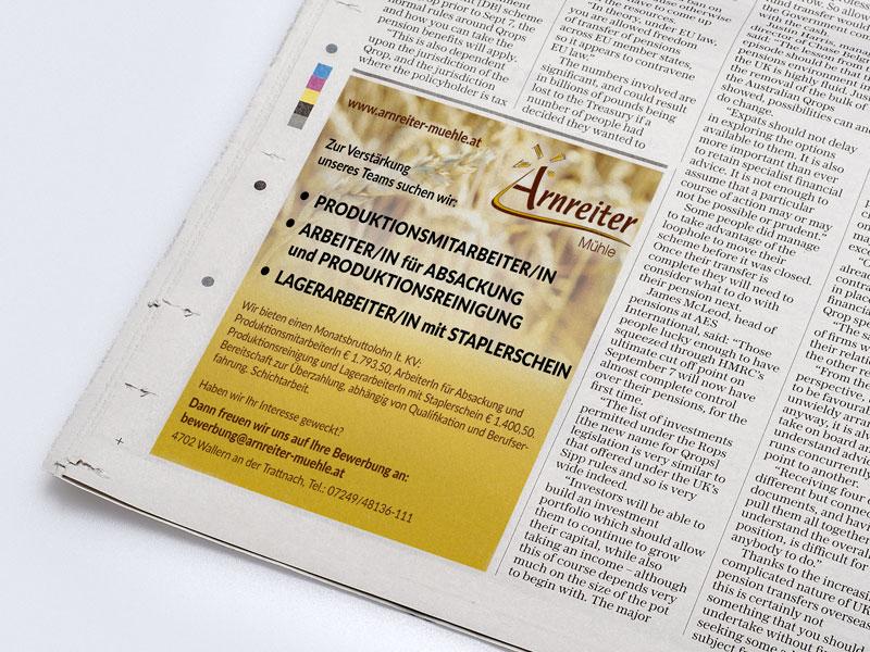 Arnreiter Mühle Inserat Zeitung