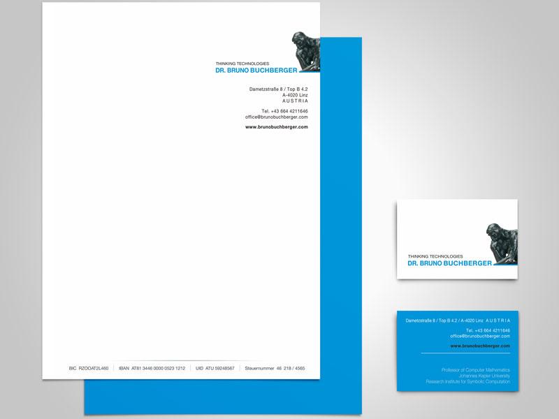 Buchberger Thinking Technologies Briefpapier Visitenkarte