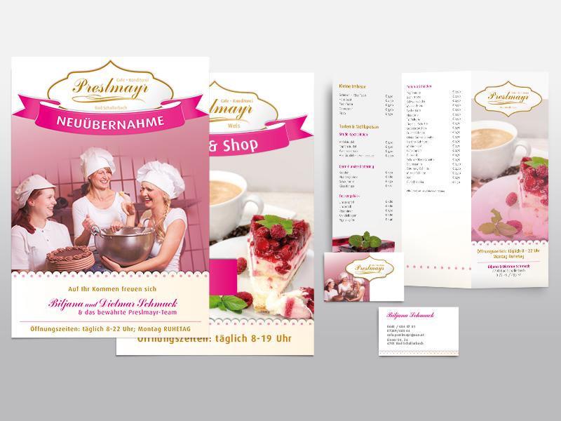 Konditorei Preslmayr-plakate-postwurf-getraenkekarten-visitenkarten