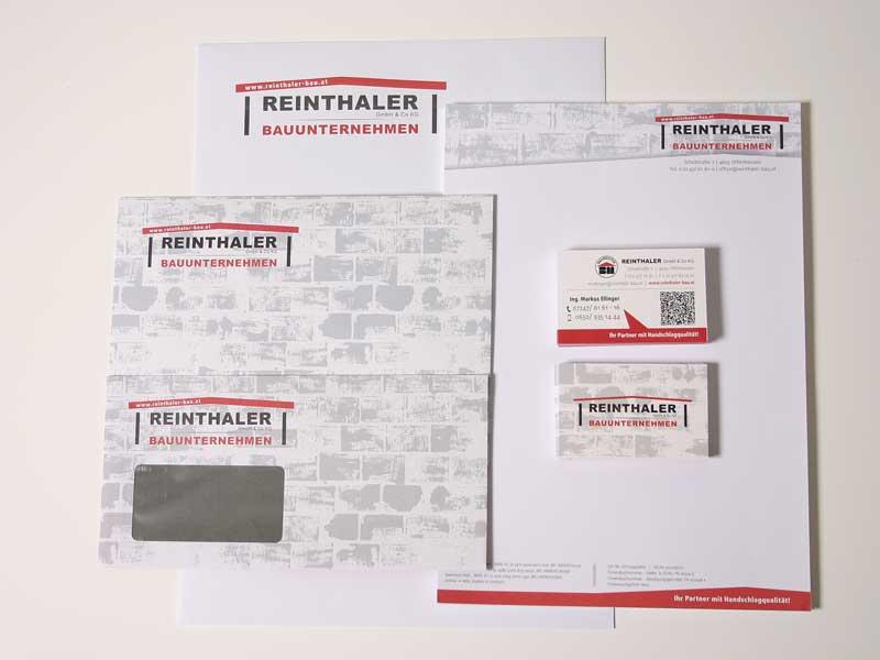 Reinthaler Bauunternehmen Briefpapier Visitenkarten Kuvert