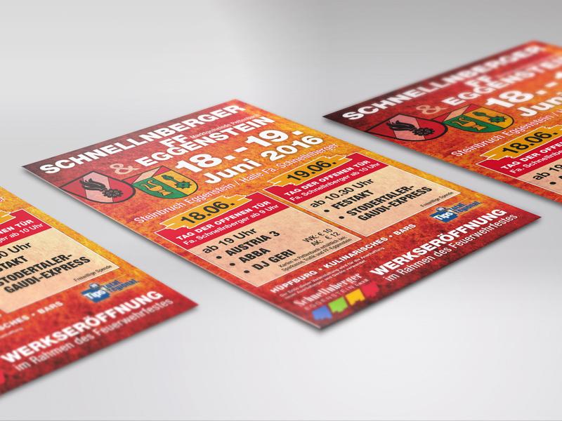 Schnellnberger Plakate Flyer Eintrittskarten Werkseröffnung