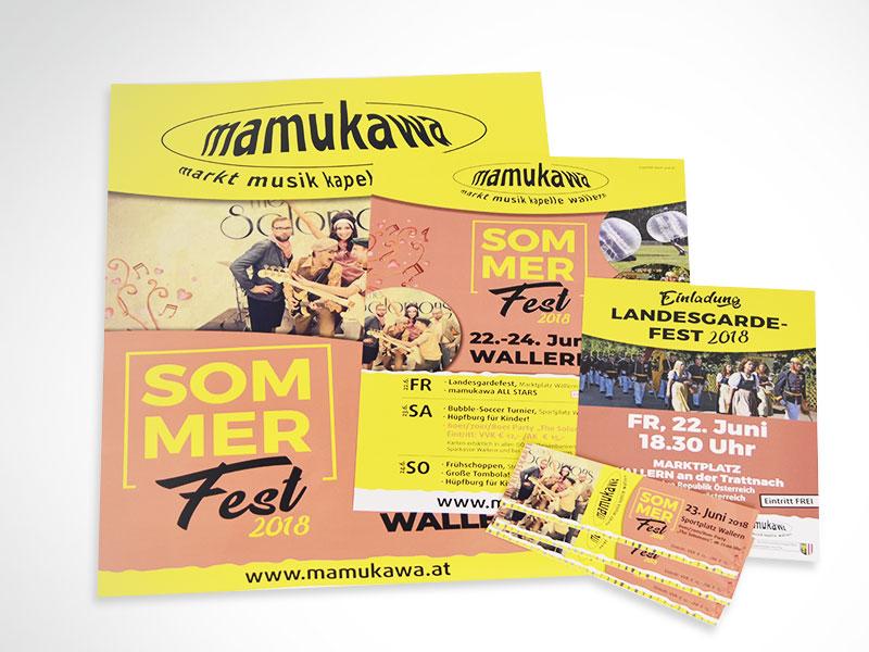 Marktmusikkapelle Wallern mamukawa Gesamtumsetzung Plakate Flyer Eintrittskarten Postwurf