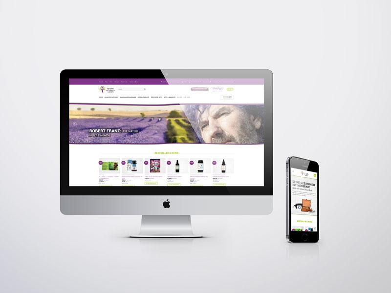 Gesund natürlich leben onlineshop mit produktbbildern