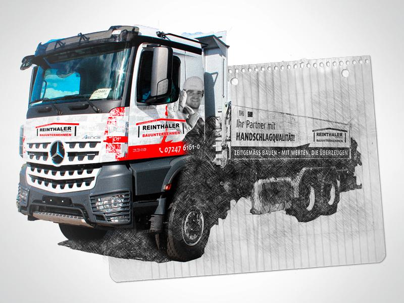 Reinthaler Bauunternehmen LKW-Beschriftung Autobeschriftung Autogestaltung